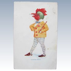 Easter Postcard Dressed Animal Rooster Crowing 1906