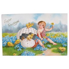 Easter Postcard Chromo  Cherub and Chicks Germany