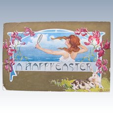 Easter Postcard Art Nouveau Artist Signed T. Bieletto Bunnies