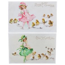 Two Easter Cards by Illustrator Frances Brundage Embossed Unused