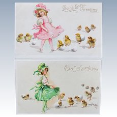 Two Easter Cards by Illustrator Frances Brundage Embossed Unused