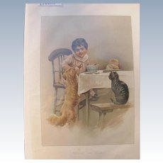 Childrens Book Lithograph by Harriet Bennett Printed by Earnest Nister 1900 Dog and Cat