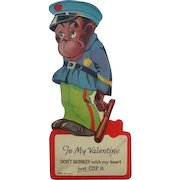 Mechanical Valentines Card Monkey in Police Uniform 1920's Twelvetrees