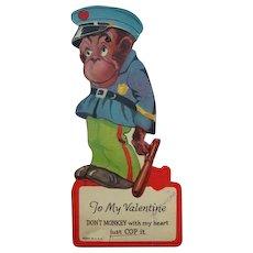 Mechanical Valentines Card Monkey in Police Uniform 1920's Twelvetrees