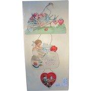 Valentine Card 3 Part Hanging Vintage Greeting Card