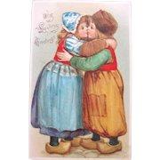 Valentines Day Postcard No Line 1907 Dutch Kids Frances Brundage Tucks