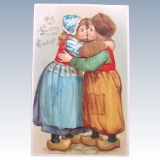 Valentines Day Postcard No Line 1907 Dutch Kids Frances Brundage Tucks
