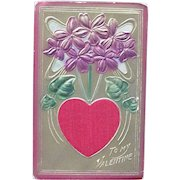 Valentine's Day Postcard with Silk Red Heart Embossed Flowers