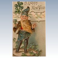 New Year's Postcard 1907 Lucky Elf Green Frame