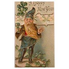 New Year's Postcard 1907 Lucky Elf Green Frame