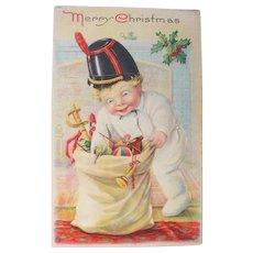 Christmas Postcard 1920 Toys and Boy