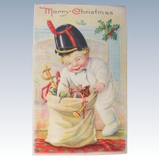 Christmas Postcard 1920 Toys and Boy