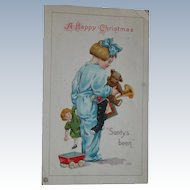 Christmas Postcard Toys and Child with Dolls 1922