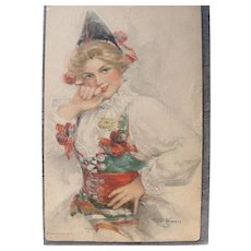 Artist Signed Postcard Kinneys Dutch Girl Holland
