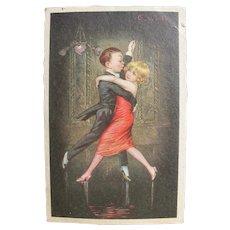 Vintage Postcard Couple Dancing Tango