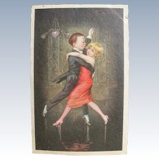 Vintage Postcard Couple Dancing Tango