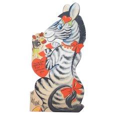 Valentines Day Card 1920's Zebra and Dog USA