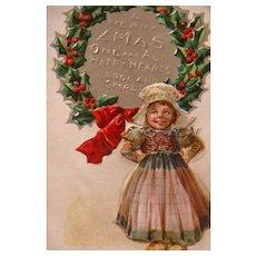 Christmas Postcard Francis Brundage Scottish Nation Series