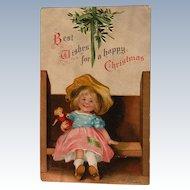 Christmas Postcard Ellen Clapsaddle Signed Girl w/ Doll 1908