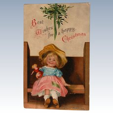 Christmas Postcard Ellen Clapsaddle Signed Girl w/ Doll 1908