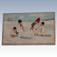 Christmas Postcard Pierrot Children 1910