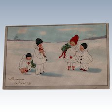 Christmas Postcard Pierrot Children 1910