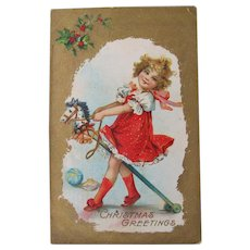 Christmas Postcard by Frances Brundage Girl on Stick Horse