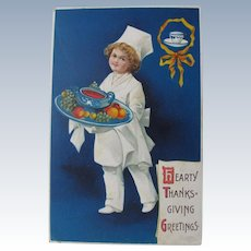 Thanksgiving Postcard Chef by Ellen Clapsaddle 1909