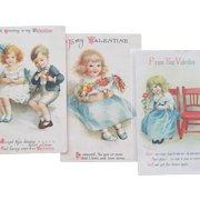 Valentine's Day Postcards by Ellen Clapsaddle Three Postcards