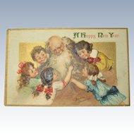 Rare Postcard Father Time Santa Frances Brundage Signed