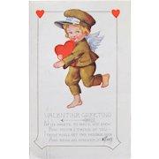 Valentine's Day Postcard Cherub and Hearts Whitney 1920