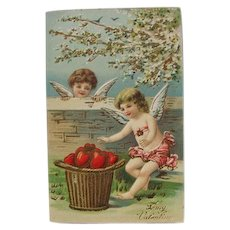 Valentines Day Post Card Ex Condition Two Cherubs Germany Embossed
