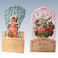 Two Valentines Day Victorian Fold Out Cards 1900 Die Cuts