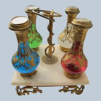 Antique Perfume Bottles French Opaline on Marble Stand with Hand Painted Scenes