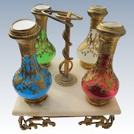 French Opaline Perfume Bottles on Marble Stand with Hand Painted Scenes