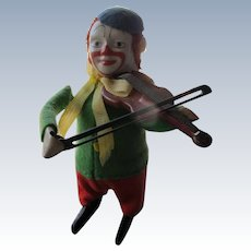 Wind-up Toy by Germany Schuco Clown playing Violin 1930's