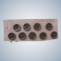 Antique Steel Buttons Nine in Excellent Condition