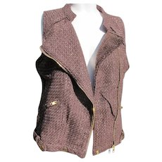 Designer Jacket Vest Vintage with Labels Unworn Brown Medium