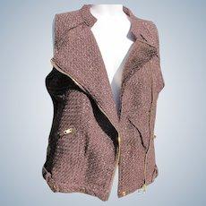Designer Jacket Vest Vintage with Labels Unworn Brown Medium