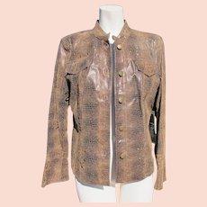 Designer Jacket Leather Size Medium Flared Sleeves Unworn Vintage