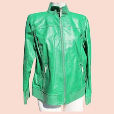 Green Leather Jacket Designer Never Worn with Labels Medium