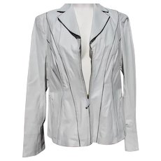 Leather Jacket White Designer Never Worn with Labels Size Medium