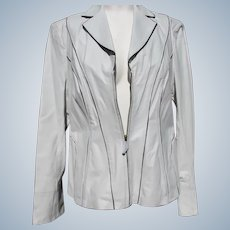 Leather Jacket White Designer Never Worn with Labels Size Medium