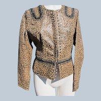 Designer Leather Jacket with Leopard Print Never Worn Size Medium