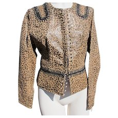 Designer Leather Jacket with Leopard Print Never Worn Size Medium