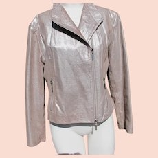 Designer Leather Jacket Silver Brown Never Worn Size 8