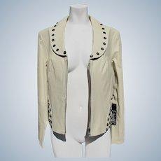 Designer Leather Jacket Never Worn Size Medium Beige Jeweled