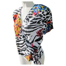 Summer Blouse by Surya Vintage with Sequins and Bright Colors