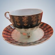 Porcelain Tea Cup with Feet Black White Gold Color 1940's