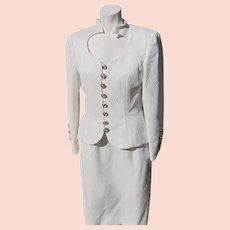 Two Piece Suit for Evening Wear with Large Rhinestone Buttons 1980's Size